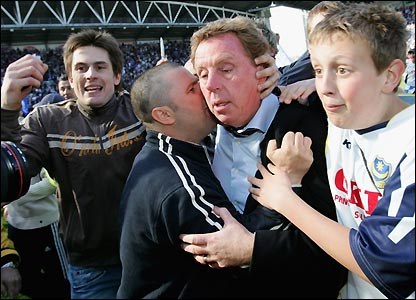Harry Redknapp is mobbed by fans