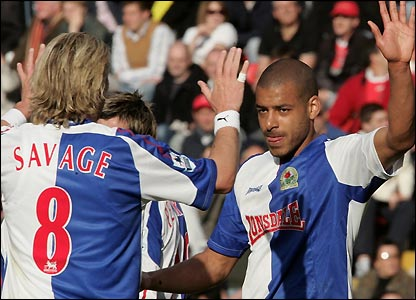 Steven Reid is congratulated by Robbie Savage