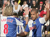 Steven Reid (right) is congratulated by team-mate Robbie Savage after he put Blackburn 1-0 up at Charlton