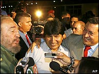 Presidents Fidel Castro of Cuba (L), Evo Morales of Bolivia and Hugo Chavez of Venezuela.