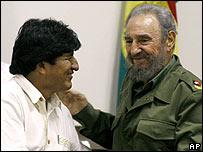 Evo Morales y Fidel Castro