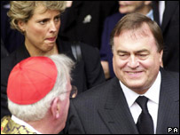 Tracey Temple and John Prescott meeting Cardinal Cormac Murphy-O'Connor