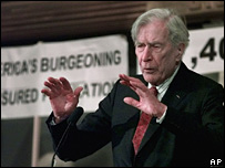 John Kenneth Galbraith at a forum on health care in Boston in December 1998