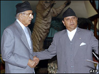 Girija Prasad Koirala (left) and King Gyanendra at Koirala's swearing-in ceremony