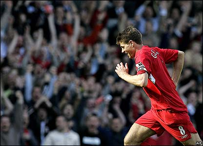 Gerrard celebrates scoring his second goal