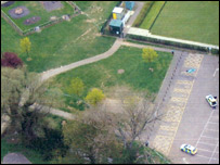Aerial view of Leagrave Park and car park