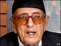 Nepalese Prime Minister Girija Prasad Koirala