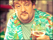 "Actor Johnny Vegas en un episodio de la serie brit�nica ""Felicidad""."