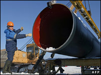 Russian workers laying the Baltic pipeline in February