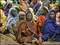 Displaced women at a camp west Darfur in September 2004