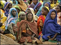 Displaced women at a camp in west Darfur in September 2004