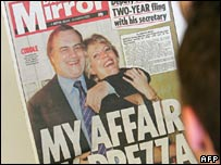 Daily Mirror splash about Mr Prescott's affair