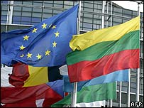 EU and members' flags in Strasbourg