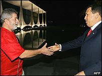 Presidentes de Brasil, Inacio Lula da Silva y de Venezuela, Hugo Chávez.