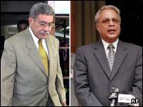Fijian Prime Minister Laisenia Qarase (L) opposition leader Mahendra Chaudry (R))