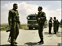 Palestinian security forces at the Karni crossing
