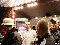 Skinhead protesters outside the night club