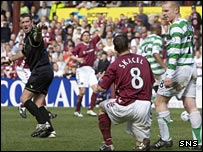 Rudi Skacel rises after being pushed to the ground by Neil Lennon