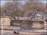 Burnt down village in Darfur