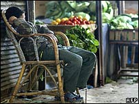 A youth takes a nap as he waits for customers at his vegetable shop earlier in April