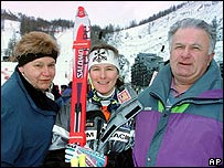 Corinne Rey-Bellet (centre) with her parents in 1997