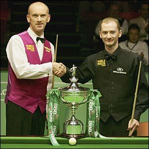 Peter Ebdon and Graeme Dott prepare to contest the World Championship final in Sheffield