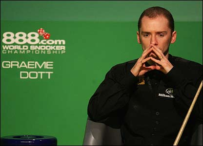 Graeme Dott waits to get to the table