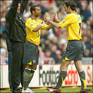 Ashley Cole replaces Robert Pires midway through the second half