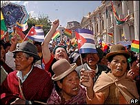Bolivians celebrate the decree in La Paz