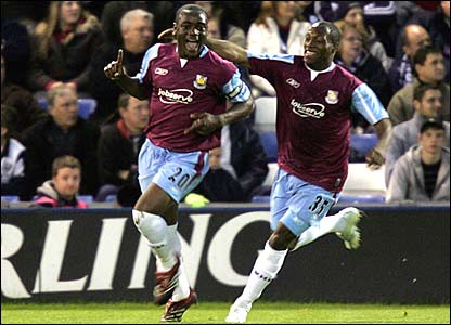 West Ham Nigel Reo-Coker celebrates scoring the opener for West Ham with Kyle Reid
