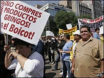Manifestantes mexicanos.