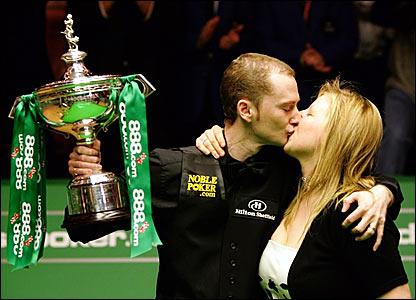 Graeme Dott is joined by wife Elaine to celebrate his victory