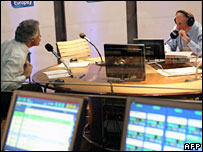 French Prime Minister Dominique de Villepin (L) during his interview on French radio