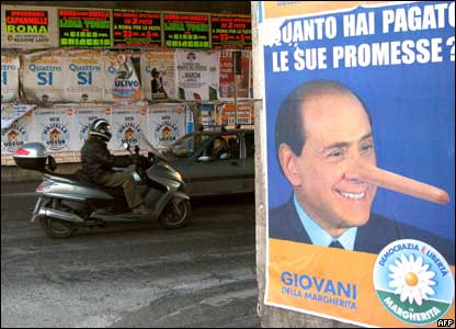 An electoral banner of the Margherita (left-wing coalition) shows Italian Prime minister and right-wing coalition leader Silvio Berlusconi like Pinocchio, in Rome 07 April 2006