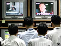 South Koreans watching TV