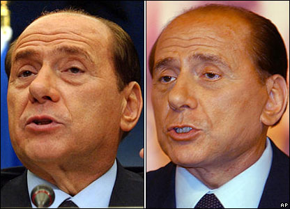 Berlusconi is seen in this combination of two pictures taken in Brussels on 13 Dec 2003, left, and in Rome on 23 Jan 2004