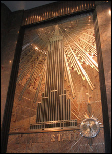 Metal relief in the ESB Lobby