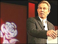 Tony Blair addressing Usdaw workers in Blackpool