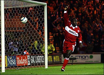 Jimmy Floyd Hasselbaink scores Middlesbrough's first European goal as they beat Banik Ostrava 4-1 on aggregate in the Uefa Cup