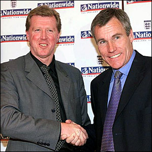 Steve McClaren (left) and Peter Taylor take on their dual England role in October 2000 while the FA search for a full-time manager