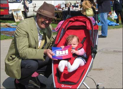 Eliza Grace with Tim Wonnacott from the BBC's Bargain Hunt at the Builth Wells antiques fair