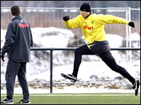 Jan Koller in training at Borussia Dortmund