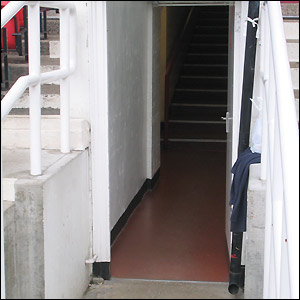 A narrow tunnel leads you from the changing rooms to the pitch