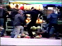 A still from a video of an attack