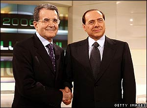 Berlusconi (right) and former European Commission President Romano Prodi hold face-to-face debate on RAI television, 3 April 2006