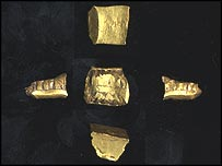 Gold runic fragment, found by Essex detectorist Corinne Mills, possibly from a Saxon sword, picture courtesy of the Portable Antiquities Scheme