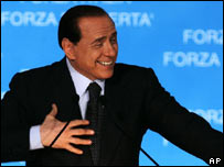 Silvio Berlusconi addresses supporters in April