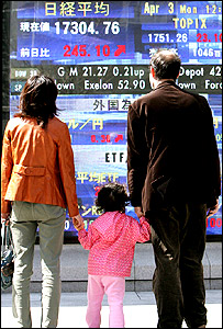 Family watches a digital stock indicator
