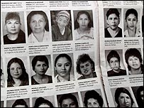 Newspaper showing pictures of women killed in Guatemala