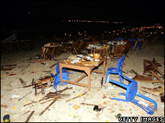 Aftermath of the bombing at Jimbaran Fish Cafe, Bali